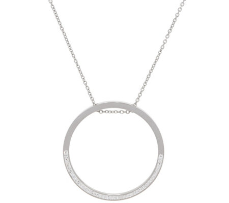 "Stainless Steel Crystal Circle Pendant with 33-1/2"" Chain"