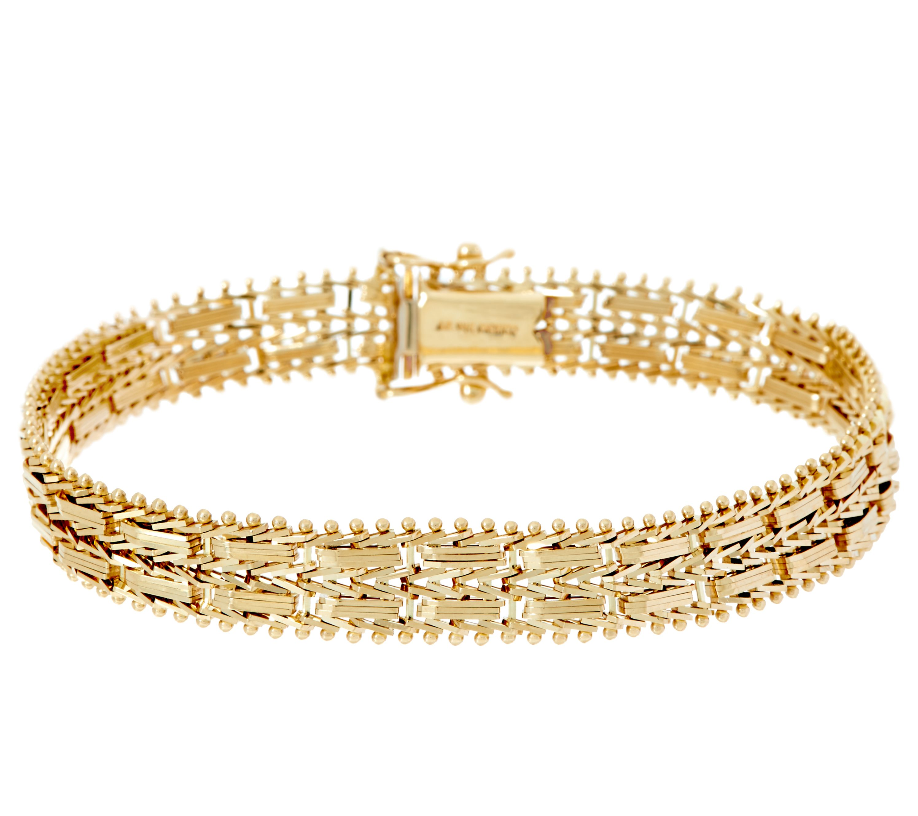 Imperial Gold 634 Mirror Bar Bracelet 14K 165g Page 1 QVCcom