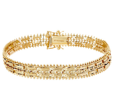 "Imperial Gold 6-3/4"" Mirror Bar Bracelet, 14K, 16.5g"