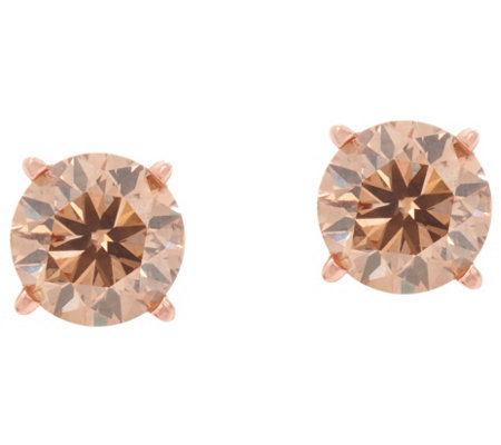 Champagne Diamond Round Stud Earrings 14K, 9/10 cttw by Affinity