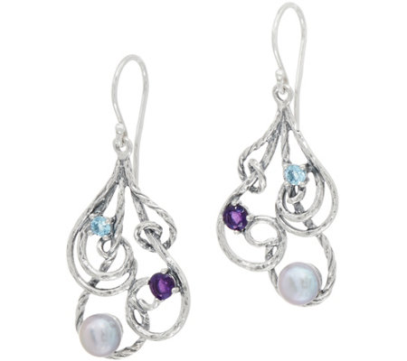 Or Paz Sterling Silver Cultured Pearl & Gemstone Earrings