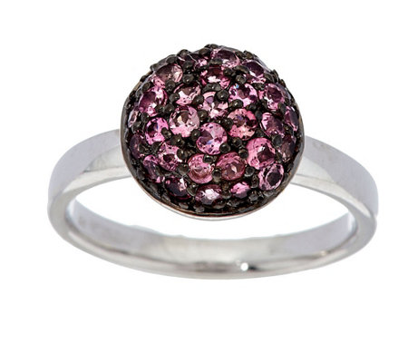 """As Is"" 0.55 ct tw Exotic Gemstone Pave' Round Sterling Stack Ring"