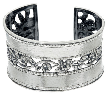 """As Is"" Or Paz Sterling Silver Hammered & Floral Lace Cuff, 43.0g"