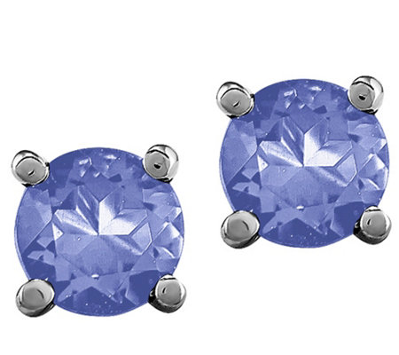 14K White Gold Gemstone Stud Earrings