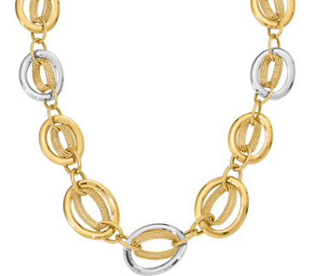 "14K Two-Tone Polished and Textured Link 18"" Necklace, 31.7g"
