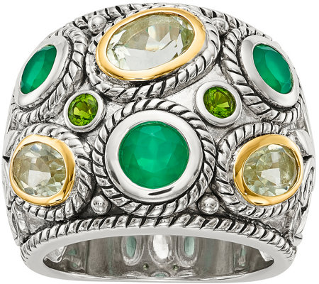 Sterling & 14K Multi Gemstone Wide Ring