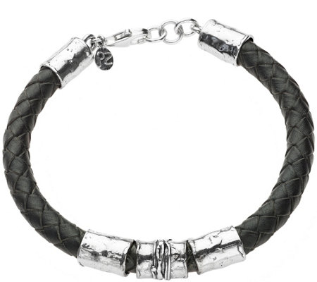 "Or Paz Sterling 8-1/2"" Men's Braided Leather Br acelet"