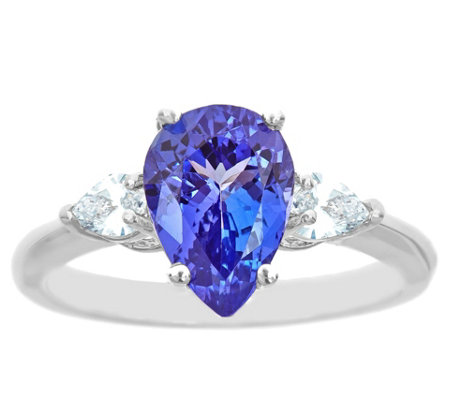 14K Gold 2.00 cttw Pear-Shaped Tanzanite Ring