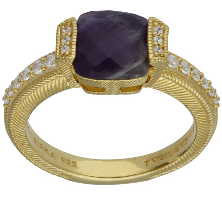 Judith Ripka 14K Clad Cape Amethyst & Diamonique Ring