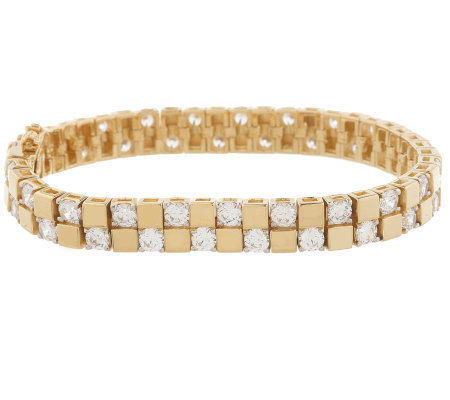 Diamonique 18K Gold Clad Scattered Stone Tennis Bracelet