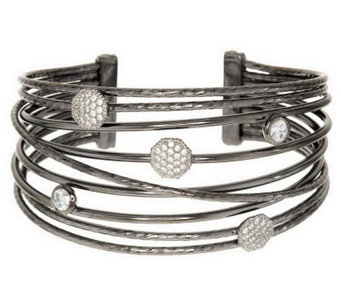 Vicenza Silver Sterling Large Bold Polished Multi-Row Diamonique Cuff - J284187