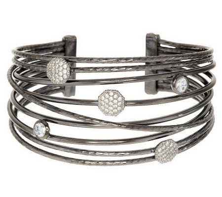 Vicenza Silver Sterling Large Bold Polished Multi-Row Diamonique Cuff