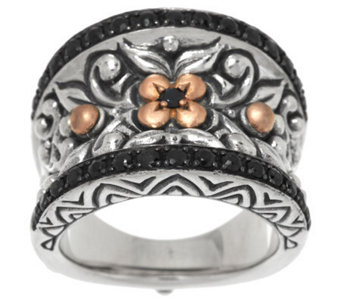 Barbara Bixby Sterling & 18K Rose Gold Black Sapphire Band Ring - J284687