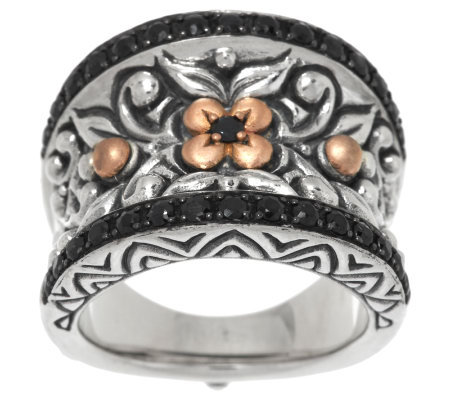 Barbara Bixby Sterling & 18K Rose Gold Black Sapphire Band Ring