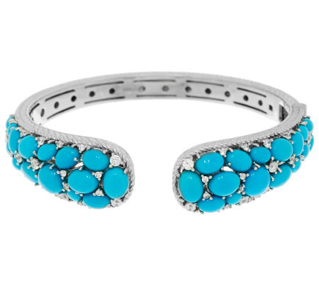Judith Ripka Sterling Sleeping Beauty Turquoise & Diamonique Cuff