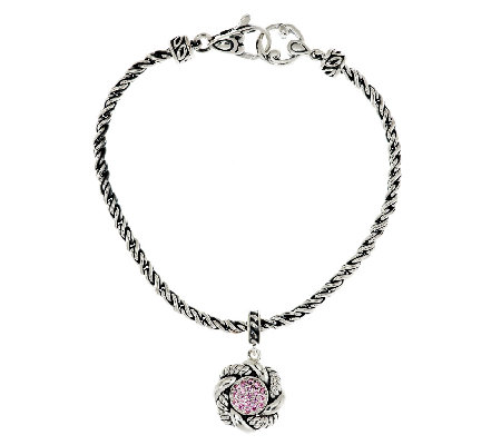 JAI Sukhothai Sterling 7/10ct Pink Diamonique Charm Bracelet