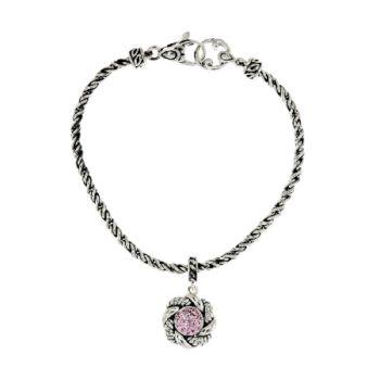 JAI Sukhothai Sterling 7/10ct Pink Diamonique Charm Bracelet