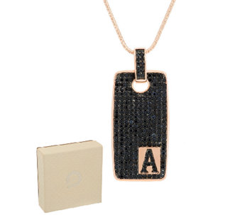 Bronzo Italia 3.50 cttw Black Spinel Rose Initial Tag Necklace - J289687