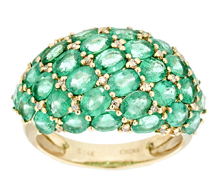 4.50 ct tw Zambian Emerald Domed Ring, 14K Gold