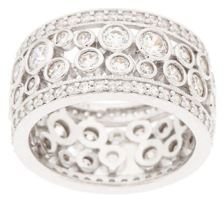 Diamonique Bubble Design Eternity Band Ring, Platinum Clad