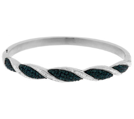 """As Is"" Steel by Design Ribbed Design Crystal Hinge Bangle"