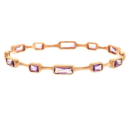 """As Is"" Bronzo Italia Rose 7.00 cttw Large Faceted Gemstone Bangle"