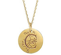 Posh Mommy 18K Gold-Plated Large Initial Disc Pendant w/Chain - J300087