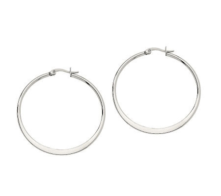 "Stainless Steel 1-3/4"" Tapered Hoop Earrings"