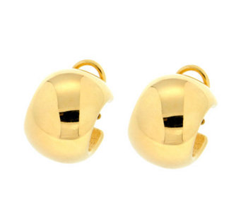 Veronese 18K Clad Polished Round Wide Huggie Hoop Earrings - J302287
