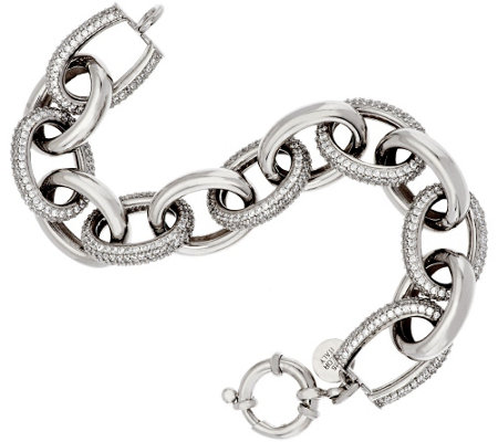 Diamonique Average 10 cttw Sterling Pave' & Steel Oval Bracelet