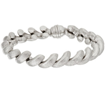 "Vicenza Silver Sterling 7-1/4"" Satin Finish San Marco Bracelet, 22.2g - J317187"