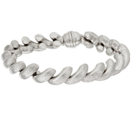 "Vicenza Silver Sterling 7-1/4"" Satin Finish San Marco Bracelet, 22.2g"