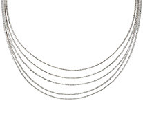 "Italian Silver Sterling 16"" Multi-Strand Omega Necklace, 44.1g - J320887"