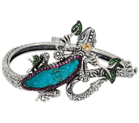 Barbara Bixby Sterling & 18K Multi-Gemstone Gecko Bangle Bracelet