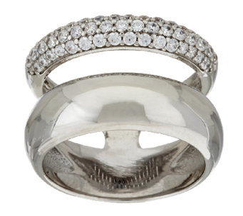 Bronze Pave' Crystal Double Band Ring by Bronzo Italia - J322787
