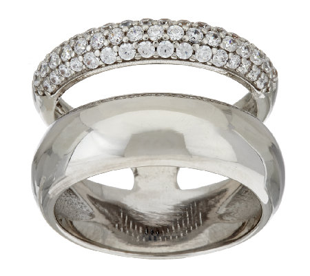 Bronze Pave' Crystal Double Band Ring by Bronzo Italia