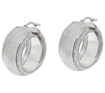 "VicenzaSilver Sterling 1"" Ribbed Pave' Glitter Round Hoop Earrings - J322987"