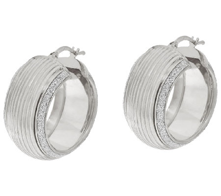 "VicenzaSilver Sterling 1"" Ribbed Pave' Glitter Round Hoop Earrings"