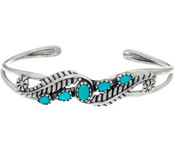 Sterling Silver Sleeping Beauty Turquoise & Leaf Cuff by American West - J323887