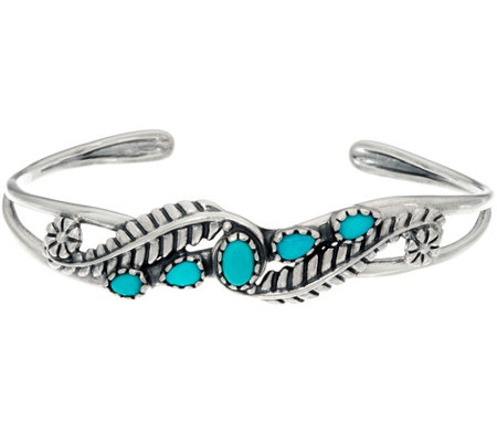 Sterling Silver Sleeping Beauty Turquoise & Leaf Cuff by American West