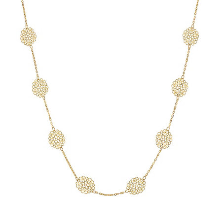 "Vicenza Gold 24"" Diamond Cut Flower Station Necklace, 14K"