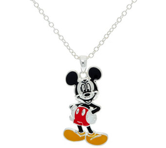 """As Is"" Disney Enamel Mickey or Minnie Pendant w/ 18"" Chain - J327887"