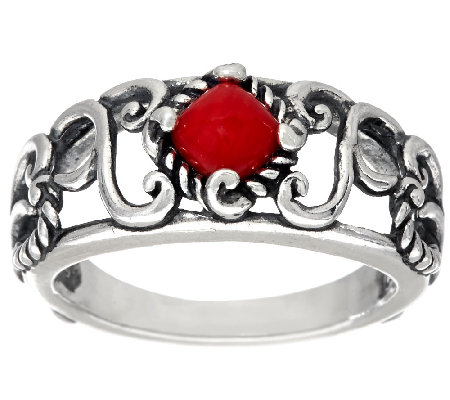 Carolyn Pollack Sterling Silver Signature Red Coral Band Ring