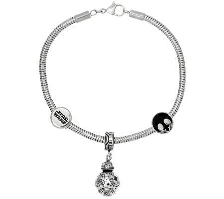 Star Wars Stainless Steel Character Charm Bracelet product J328487 on qvc lori goldstein