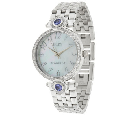 Ecclissi Facets Stainless Steel 2.60 cttw Tanzanite & Zircon Watch