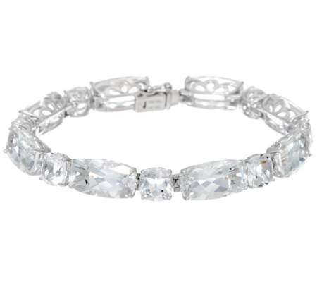 "Colors of Quartz 6-3/4"" Sterling Silver Tennis Bracelet 51.30 cttw"