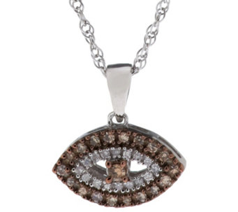 """As Is"" Diamond Evil Eye Neck lace, Sterling 1/7 cttw, by Affinity - J329987"