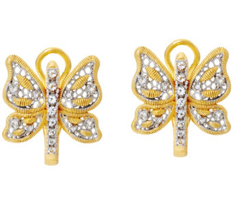 Genesi 18K Clad Butterfly Omega Back Earrings - J330187