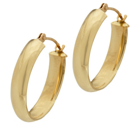 """As Is"" 18K Gold 5/8"" Polished Oval Hoop Earrings"