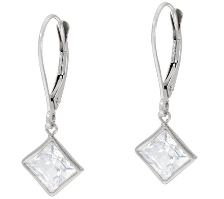 Diamonique 3.00 cttw Princess Lever Back Earrings, 14K